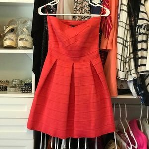 Express Coral Strapless Party Dress S
